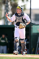 February 20, 2009:  Catcher Chris Berset (10) of the University of Michigan during the Big East-Big Ten Challenge at Jack Russell Stadium in Clearwater, FL.  Photo by:  Mike Janes/Four Seam Images