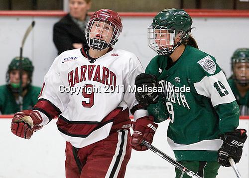 Lyndsey Fry (Harvard - 9), Reagan Fischer (Dartmouth - 19) - The visiting Dartmouth College Big Green defeated the Harvard University Crimson 3-2 on Wednesday, November 23, 2011, at Bright Hockey Center in Cambridge, Massachusetts.