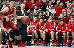 UNCASVILLE CT. 17 March 2018-031718SV04-Wamogo players and Coach Gregg Hunt watch the final minutes tick off the clock during a 58-40 loss to Cromwell in the CIAC Division V Finals at Mohegan Sun Arena in Uncasville Saturday.<br /> Steven Valenti Republican-American