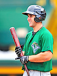 24 July 2010: Vermont Lake Monsters catcher David Freitas awaits his turn in the batting cage prior to a game against the Lowell Spinners at Centennial Field in Burlington, Vermont. The Lake Monsters fell to the Spinners 11-5 in NY Penn League action. Mandatory Credit: Ed Wolfstein Photo