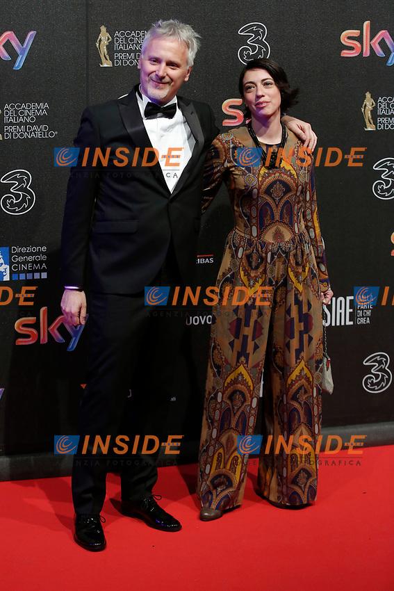 Cristiano Bortone con la moglie<br /> Roma 27-03-2017. Premio David di Donatello 2017.<br /> Rome March 27th 2017. David di Donatello ceremony 2017. <br /> Foto Samantha Zucchi Insidefoto