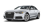 Stock pictures of low aggressive front three quarter view of 2017 Audi A6 Prestige 4 Door Sedan