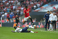 Manchester United's Marcus Rashford is challenged by Tottenham Hotspur's Davinson Sanchez<br /> <br /> Photographer Rob Newell/CameraSport<br /> <br /> Emirates FA Cup - Emirates FA Cup Semi Final - Manchester United v Tottenham Hotspur - Saturday 21st April 2018 - Wembley Stadium - London<br />  <br /> World Copyright &copy; 2018 CameraSport. All rights reserved. 43 Linden Ave. Countesthorpe. Leicester. England. LE8 5PG - Tel: +44 (0) 116 277 4147 - admin@camerasport.com - www.camerasport.com