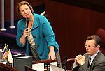 Nevada Sen. Sheila Leslie, D-Reno, speaks on the Senate floor at the Legislature in Carson City, Nev. on Monday, March 7, 2011. Sen. Ben Kieckhefer, R-Reno, is at right..Photo by Cathleen Allison