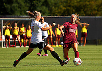 WINSTON-SALEM, NORTH CAROLINA - August 30, 2013:<br />  Erin Yenney (16) of Louisville University defends againsrt Katie Yensen (3) of Virginia Tech during a match at the Wake Forest Invitational tournament at Wake Forest University on August 30. The game ended in a 1-1 tie.