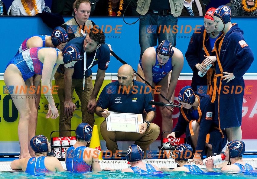 Eindhoven , Netherlands (NED) 20/1/2012.LEN European  Water Polo Championships 2012.Day 05 - Women.Hungary (White) - Netherlands (Blue)..NED.Team..Photo Insidefoto / Giorgio Scala