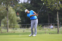 Simon Khan (ENG) on the 1st fairway during Round 1 of the D+D Real Czech Masters at the Albatross Golf Resort, Prague, Czech Rep. 31/08/2017<br /> Picture: Golffile | Thos Caffrey<br /> <br /> <br /> All photo usage must carry mandatory copyright credit     (&copy; Golffile | Thos Caffrey)