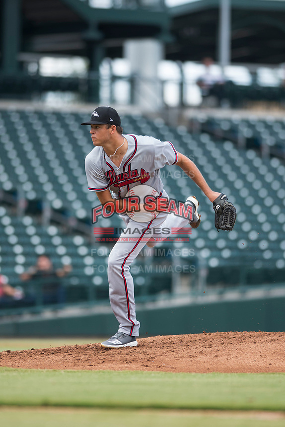 Peoria Javelinas starting pitcher Jeremy Walker (58), of the Atlanta Braves organization, follows through on his delivery during an Arizona Fall League game against the Mesa Solar Sox at Sloan Park on October 11, 2018 in Mesa, Arizona. Mesa defeated Peoria 10-9. (Zachary Lucy/Four Seam Images)