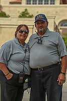 The media security staff celebrating Mother's Day together during round 4 of The Players Championship, TPC Sawgrass, at Ponte Vedra, Florida, USA. 5/13/2018.<br /> Picture: Golffile | Ken Murray<br /> <br /> <br /> All photo usage must carry mandatory copyright credit (&copy; Golffile | Ken Murray)