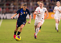 5th March 2020, Orlando, Florida, USA;  the United States forward Tobin Heath breaks away from England midfielder Keira Walsh (4) during the Women's SheBelieves Cup soccer match between the USA and England on March 5, 2020 at Exploria Stadium in Orlando, FL.