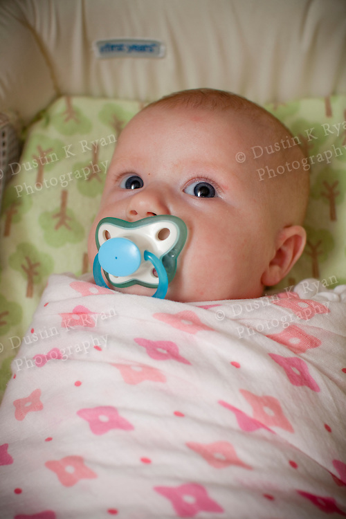 Baby girl blue eyes 2 months old