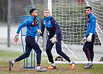 Wes Foderingham, Maciej Gostomski and Liam Kelly all guarding the goals at Rangers training