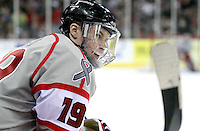 UNO's Ryan Walters watches from the bench during the third period. Denver beat Nebraska-Omaha 4-2 Saturday night at Qwest Center Omaha. (Photo by Michelle Bishop)