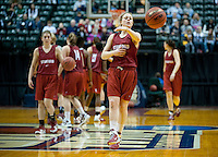INDIANAPOLIS, IN - APRIL 2, 2011: Lindy La Rocque during an open practice session at Conseco Fieldhouse at the NCAA Final Four in Indianapolis, IN on April 1, 2011.