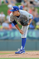 Starting pitcher Matt Alvarez (30) of the Lexington Legends delivers a pitch in a game against the Greenville Drive on Sunday, August 31, 2014, at Fluor Field at the West End in Greenville, South Carolina. Greenville won, 3-2. (Tom Priddy/Four Seam Images)
