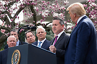 Brian Cornell, Cheif Executive Officer of Target, speaks during a news conference with United States President Donald J. Trump, United States Vice President Mike Pence, members of the Coronavirus Task Force, and Industry Executives, in the Rose Garden at the White House in Washington D.C., U.S., on Friday, March 13, 2020.  Trump announced that he will be declaring a national emergency in response to the Coronavirus.  Credit: Stefani Reynolds / CNP/AdMedia