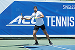 Borna Gojo of the Wake Forest Demon Deacons during his match at #1 doubles against the North Carolina Tar Heels at the 2018 ACC Men's Tennis Championship at the Cary Tennis Center on April 29, 2018 in Cary, North Carolina.  The Demon Deacons defeated the Tar Heels 4-0.  (Brian Westerholt/Sports On Film)
