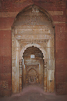 Inside the Quwwat-ul-Islam (`Might of Islam') Mosque, one of the earliest examples of Islamic architecture in India