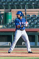 AZL Rangers right fielder Fernando Valdez (46) at bat during an Arizona League game against the AZL Giants Black at Scottsdale Stadium on August 4, 2018 in Scottsdale, Arizona. The AZL Giants Black defeated the AZL Rangers by a score of 3-2 in the first game of a doubleheader. (Zachary Lucy/Four Seam Images)