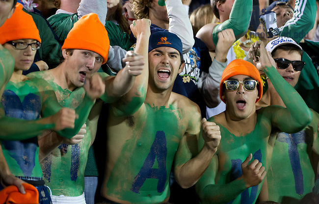 Sept. 22, 2012; Students cheer on their football team during the game against Michigan.  Photo by Barbara Johnston/University of Notre Dame