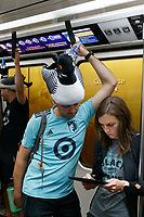 ATLANTA, Georgia - August 27: Fans arriving from Minnesota for the 2019 U.S. Open Cup Final between Atlanta United and Minnesota United at Mercedes-Benz Stadium on August 27, 2019 in Atlanta, Georgia.