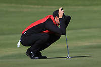 Sebastian Heisele (GER) on the 4th green during Round 3 of the Challenge Tour Grand Final 2019 at Club de Golf Alcanada, Port d'Alcúdia, Mallorca, Spain on Saturday 9th November 2019.<br /> Picture:  Thos Caffrey / Golffile<br /> <br /> All photo usage must carry mandatory copyright credit (© Golffile | Thos Caffrey)
