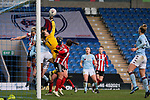 Sian Rogers of Aston Villa saves from a Leandra Little of Sheffield United header during the The FA Women's Championship match at the Proact Stadium, Chesterfield. Picture date: 12th January 2020. Picture credit should read: James Wilson/Sportimage