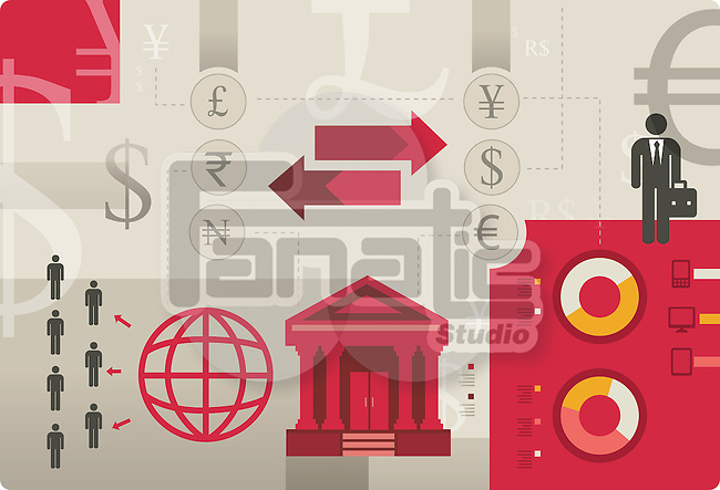 Illustrative image representing exchange of international currencies