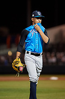 Tampa Tarpons starting pitcher Deivi Garcia (11) walks to the dugout during a Florida State League game against the Lakeland Flying Tigers on April 5, 2019 at Publix Field at Joker Marchant Stadium in Lakeland, Florida.  Lakeland defeated Tampa 5-3.  (Mike Janes/Four Seam Images)