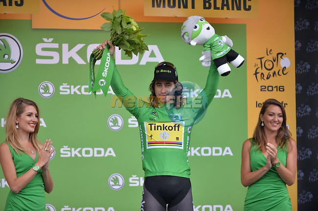 Peter Sagan (SVK) Tinkoff retains the Green Jersey on the podium at the end of Stage 19 of the 2016 Tour de France running 146km from Albertville to Saint-Gervais Mont Blanc, France. 22nd July 2016.<br />