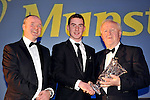 At the Bord G&aacute;is Energy Munster GAA Sports Star of the Year Awards in The Malton Hotel, Killarney on Saturday night were front from left, Dave Kirwan, Managing Director, Bord Gais Energy,  Colm Galvin, Clare, U-21 Hurler of the Year award and Robert Frost, Chairman, Munster GAA.<br /> Picture by Don MacMonagle<br /> <br /> PR photo from Munster Council