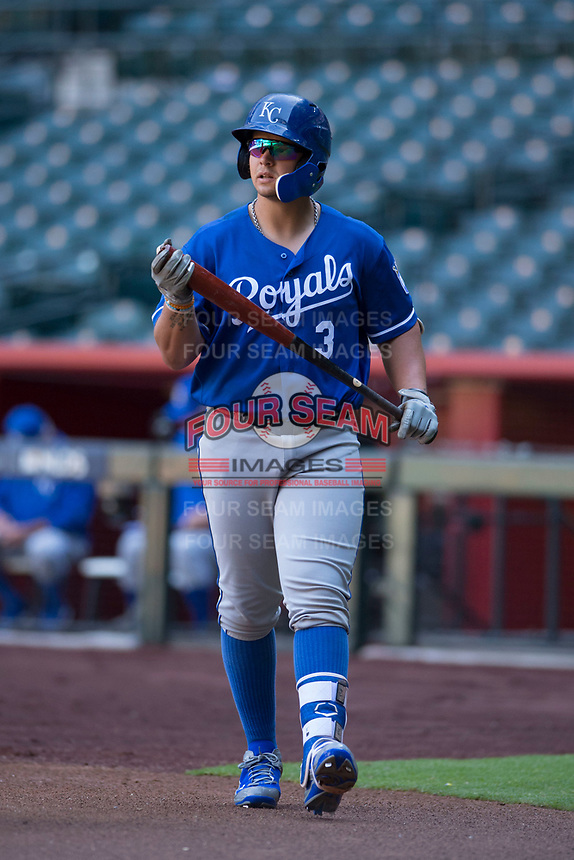 Kansas City Royals catcher Chase Vallot (3) walks to the plate during an Instructional League game against the Arizona Diamondbacks at Chase Field on October 14, 2017 in Scottsdale, Arizona. (Zachary Lucy/Four Seam Images)