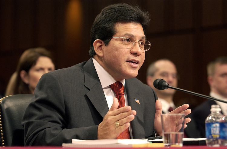 """Attorney General Alberto Gonzales testified at a Senate Judiciary Committee hearing on NSA spying entitled """" Wartime Executive Power and the NSA's (National Security Agency) Surveillance Authority."""""""