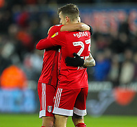 29th November 2019; Liberty Stadium, Swansea, Glamorgan, Wales; English Football League Championship, Swansea City versus Fulham; Anthony Knockaert of Fulham and Joe Bryan of Fulham celebrate at the final whistle - Strictly Editorial Use Only. No use with unauthorized audio, video, data, fixture lists, club/league logos or 'live' services. Online in-match use limited to 120 images, no video emulation. No use in betting, games or single club/league/player publications