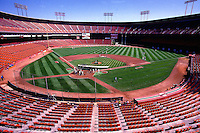 SAN FRANCISCO, CA - General overall stadium view of the home of the San Francisco Giants, Candlestick Park, during batting practice before a game against the Los Angeles Dodgers in San Francisco, California in 1987. Photo by Brad Mangin