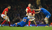 17th March 2018, Principality Stadium, Cardiff, Wales; NatWest Six Nations rugby, Wales versus France; Josh Navidi of Wales is tackled by Francois Trinh-Duc and Marco Tauleigne of France