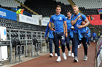 Preston North End's Josh Harrop (L) and Preston North End's Tom Clarke(R) arrives for the Sky Bet Championship match between Swansea City and Preston North End at the Liberty Stadium, Swansea, Wales, UK. Saturday 11 August 11 2018