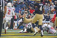 Annapolis, MD - October 8, 2016: Navy Midshipmen quarterback Will Worth (15) gets scores a touchdown during game between Houston and Navy at  Navy-Marine Corps Memorial Stadium in Annapolis, MD.   (Photo by Elliott Brown/Media Images International)
