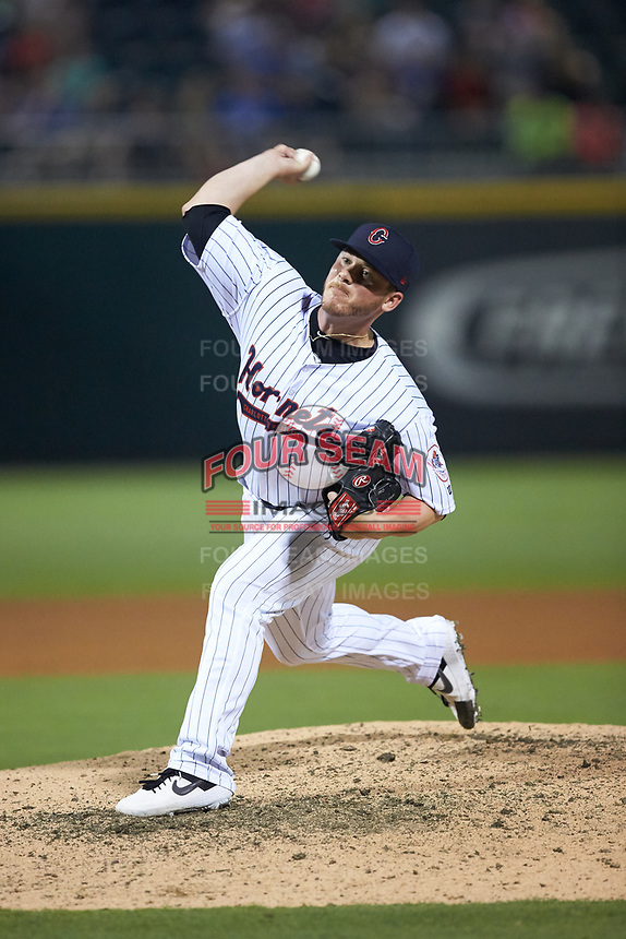 Matt Foster (22) of the Charlotte Hornets in action against the Louisville Bats at BB&T BallPark on June 22, 2019 in Charlotte, North Carolina. The Hornets defeated the Bats 7-6. (Brian Westerholt/Four Seam Images)