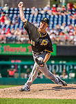 25 July 2013: Pittsburgh Pirates pitcher Vic Black on the mound against the Washington Nationals at Nationals Park in Washington, DC. The Nationals salvaged the last game of their series, winning 9-7 ending their 6-game losing streak. Mandatory Credit: Ed Wolfstein Photo *** RAW (NEF) Image File Available ***
