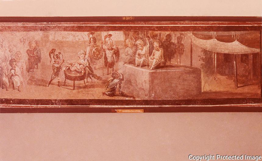 Roman Art:  Fresco--Giudizio di Salomone.  National Museum,  Naples.