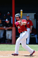 Josh Goossen-Brown #10 of the Cal State Northridge Matadors bats against the UC Santa Barbara Gauchos at Matador Field on May 12, 2013 in Northridge, California. Cal State Northridge defeated UC Santa Barbara 7-1. (Larry Goren/Four Seam Images)