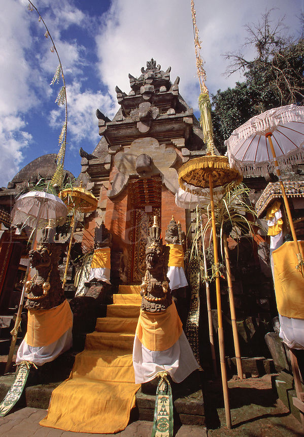 Decorated temple entrance Pura Buk Jambe Temple Mas Village Bali Indonesia.