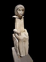 "Ancient Egyptian statue of Iteti, sandstone, Old Kingdom, 5th Dynasty, (2500-2400 BC), Mastaba. Egyptian Museum, Turin. black background.<br /> <br /> Fragmentary sandstone statue inscribed for Iteti, identified as ""inspector of wab-priests of the pyramid of Khufu""; Iteti, wearing curly wig and moustache (engraved on face), seated on chair with bull's legs."