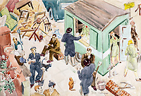 BNPS.co.uk (01202 558833)Pic: DominicWinter/BNPS<br /> <br /> Nov 1940 - WVS canteen giving tea near Swiss Cottage station'.<br /> <br /> Unseen harrowing drawings which vividly capture the horrors of the Blitz during World War Two have come to light 78 years later.<br /> <br /> Artist Ivor Beddoes began the war as an actor in the West End but quit to become a stretcher bearer as the German bombs rained down on London.<br /> <br /> He made sketches on the spot and then added watercolours later, documenting in graphic detail the devastation caused.<br /> <br /> Beddoes' drawings show bodies strewn on the blood soaked ground as the Luftwaffe did their worst. Others reveal frantic searches for survivors in the rubble of decimated buildings.<br /> <br /> The drawings have emerged for sale with auction house Dominic Winter, of Cirencester, Gloucs. They are expected to fetch £5,000.