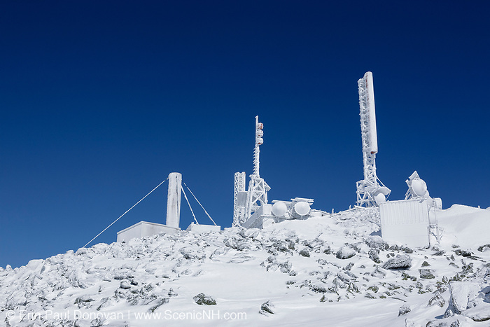 The summit of Mount Washington in Sargent's Purchase in the New Hampshire White Mountains during the winter months. Mount Washington, at 6,288 feet, is the tallest mountain in the northeastern United States. The Appalachian Trail travels over this mountain.