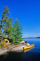 Lakeside campsite with camper and canoe, Sandburner Island, Sand Point Lake, Voyageurs National Park, Minnesota, AGPix_0537