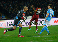 Pepe Reina   in action during the Italian Serie A soccer match between SSC Napoli and AS Roma   at San Paolo stadium in Naples, March 09 , 2014