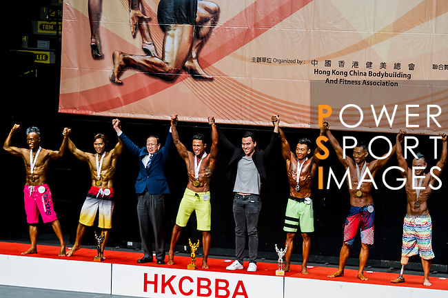 Winners in the South China Men's Sport Physique (Group A) category during the 2016 Hong Kong Bodybuilding Championships on 12 June 2016 at Queen Elizabeth Stadium, Hong Kong, China. Photo by Lucas Schifres / Power Sport Images