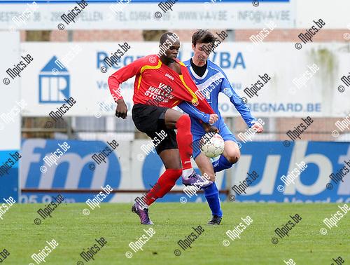 2012-04-22 / Voetbal / seizoen 2011-2012 / Kapellen FC - KSK Tongeren / Michel Nkuman (l. Kapellen) Senne Tans..Foto: Mpics.be